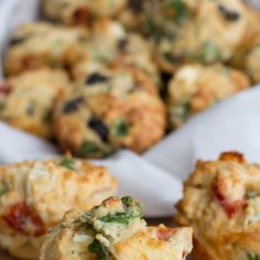 Savoury Muffins Recipe Breads, Lunch, Snacks with self rising flour, spinach, feta cheese, sun-dried tomatoes, sliced olives, parmesan cheese, milk, melted butter, eggs