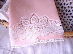 Pink Linen Lace Tea Towel, Open Lace Guest Towel, Hand Tatted Edge Fingertip Towel. $7.99, via Etsy.