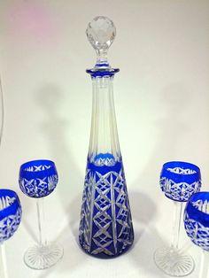 Set of four cordials or liqueur glasses + decanter crystal Saint Louis France