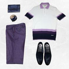 Look 2:  #CastellodOro Striped Knit Polo #PalZileri Purple Pants #Santoni Blue Crocodile Travel Wallet #CastellodOro Blue Leather Belt #Santoni Blue Leather Loafers  Available at #SartorialMiami