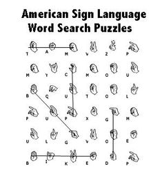 word search...a great idea to help kids learn ASL....Could use something similar for my cultural reading class