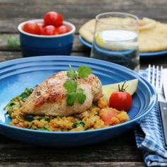 Kylling med indisk linsesalat Garam Masala, A Food, Lunch, Meat, Chicken, Recipes, Sailboat Living, Food Time, Dinners