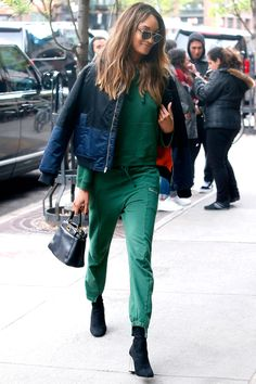 0d221c91568927 3 May Jourdan Dunn showcased an athleisure look in a green tracksuit with  heeled boots.