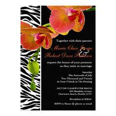 Elegant Orchids Zebra Print Modern Wedding Invites