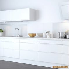 all white kitchen IKEA Kitchen Dinning, New Kitchen, Kitchen Decor, Dining Rooms, Kitchen Ideas, White Ikea Kitchen, Ikea Kitchen Cabinets, White Cabinets, Kitchen Backsplash