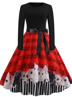 0fcea7b49f Black-Red A-Line Vintage Dress with cat pattern