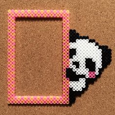 Panda bear frame perler beads by Tsubasa Yamashita so cute if you add in a polaroid picture to it!