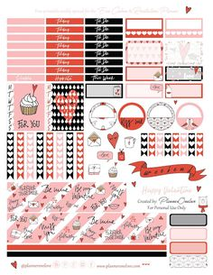 Free Printable Valentine's Planner Stickers {page two} from Planner OneLove