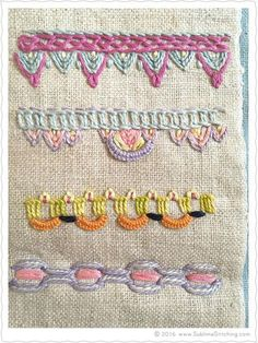 Gorgeous embroidery eye candy! More hand embroidery stitches than you can count!