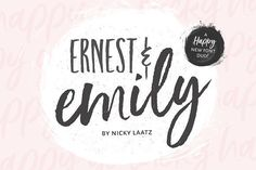 Ernest and Emily consist of two lovingly handwritten fonts. A brushed quirky-casual script, and a playful all-caps sans serif font.  Perfect for Type-based creations, branding, websites, merchandise, packaging, quotes, invites, greetings and so much more! All they need is a blank canvas, and they work their magic for you! @creativework247