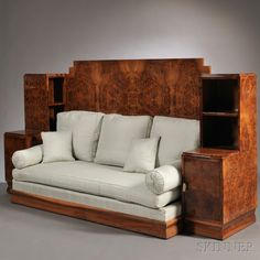 Art Deco Manner Burl Walnut Daybed