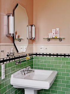 Lately I've been noticing a beautiful and intriguing new trend for the bathroom: new bathrooms designed to look like old bathrooms. If you think there's nothing more beautiful than an Art Deco bathroom covered in Art Deco tile, or if you secretly love the New Bathroom Designs, Art Deco Bathroom, Bathroom Colors, Bathroom Ideas, Retro Bathroom Decor, Mint Bathroom, Colorful Bathroom, Condo Bathroom, Art Deco Mirror