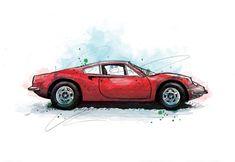 Ferrari Dino Classic Car Art Print Illustration Drawing | Etsy Creative Studio, Creative Art, Ferrari Rouge, Ford Mustang Classic, Car Illustration, Illustrations, Landscape Materials, Commercial Art, Classic Cars