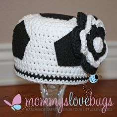 Score Soccer Girls Crochet Beanie with removable by MommysLoveBugs, $23.00