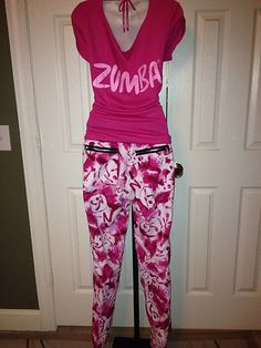 Zumba Pink White Marvelous Cargo Pants XL with I Party in Pink Customized | eBay