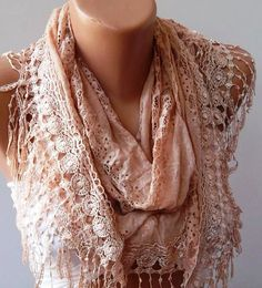 Salmon Lace Fabric Shawl with Lace Edge by SwedishShop on Etsy, $17.90