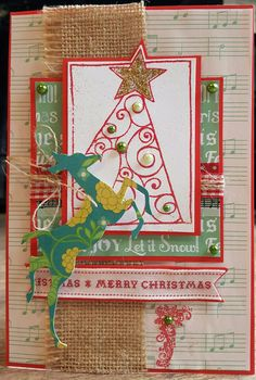 Christmas card using Woodware stamp, embossing and sizzix die