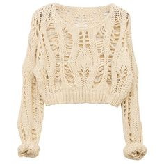 Ice-cream Color Hollow Out Batwing Sleeves Pullover (28.305 CLP) ❤ liked on Polyvore featuring tops, sweaters, shirts, jumper, loose knit sweater, long sweaters, long knit sweater, cream knit sweater and long pullover sweater