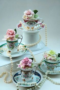 pearl decor for cupcake in a tea cup