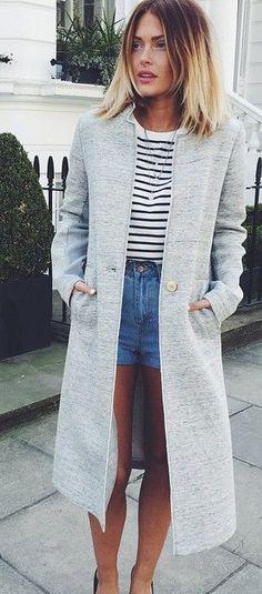 Light Grey Coat Streetstyle by Caroline Receveur & Co