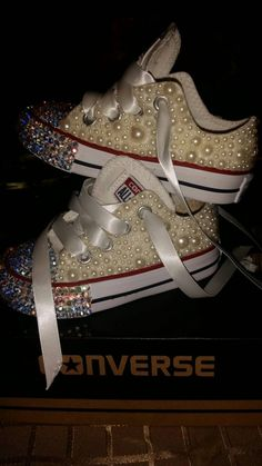 Bedazzled White girl converse (kids sizes 1-5) by CustomizeEbling on Etsy