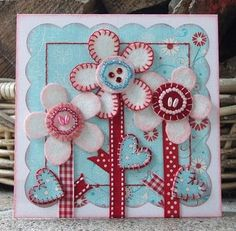 cute red and aqua flowers...love it.....I see this design somewhere other than a card.