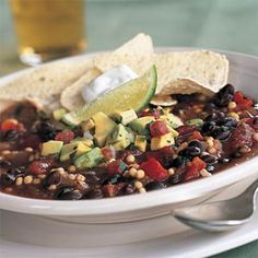 Quick Vegetarian Chili with Avocado Salsa | Cooking Light - Very easy and flavorful!