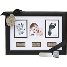 Keepsake baby hand and foot prints frame for new Grandparents. beveled mat, removable ribbon, child safe stamp, wall or tabletop. From arrival of first Grand baby to every Grandchild after, it's a perfect present for new Grandmother and Grandfather! Baby Christmas Gifts, Xmas Gifts, Cute Gifts, Diy Gifts, New Grandparent Gifts, New Grandparents, Baby Hand And Foot Prints, Baby Prints, Baby Keepsake