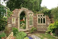 #PinMyDreamBackyard Love this style for entering into the pool area (with a nice gate)  Garden Dreams -cool website for getting your own Gothic folly