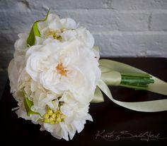 White Rose and Hydrangea Wedding Bouquet - Silk Wedding Bouquet on Etsy, £60.51