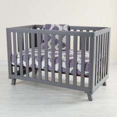 Low-Rise Crib (Grey Frame with Grey Base)  | Crate and Barrel