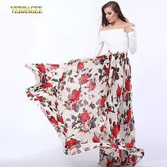 pretty floral chiffon maxi skirt