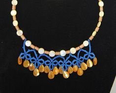 Tatted Necklace with Cat Eye Lemon-Drops FH3524