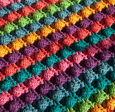 Blackberry Salad Striped Blanket - free stash buster afghan crochet patterns