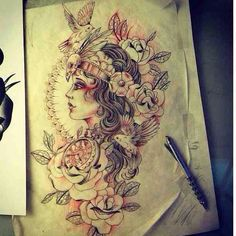 Beautiful gypsy skull tattoo