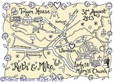 Why not commission a really lovely hand-drawn map of your various venue locations. It'll look great on your stationery and a larger framed version would make a fab keepsake of your special day. From www.hand-drawnmaps.co.uk                                                                                                                                                                                 More