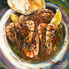 Barbequed Shrimp Art Print, Manale's New Orleans Seafood Art, Louisiana Seafood, Barbequed Shrimp Best Of New Orleans, New Orleans Art, Louisiana Seafood, Louisiana Art, Parks, Thing 1, Cooking On The Grill, Food Illustrations, Seafood Recipes