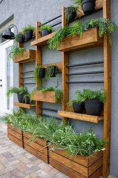 Back Patio, Backyard Patio, Backyard Landscaping, Vertical Wall Planters, Vertical Garden Design, Wall Mounted Planters Outdoor, Garden Wall Planter, Succulent Wall Planter, Garden Wall Designs