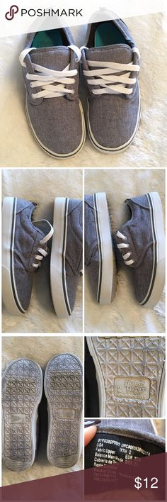 Boy's Faded Glory Denim Sneakers Boy's Faded Glory lace up denim sneakers. Size 2. In excellent condition. Bottoms are the only parts that show dirt. My son wore these once maybe twice. One insole is loose. ❌NO TRADES ❌NO LOWBALLING❌ Faded Glory Shoes Sneakers