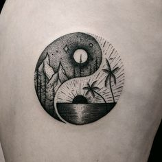By #ThomasEckeard #balance #sun #palmtree #ocean #mountains #moon
