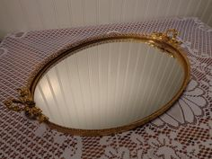 Hey, I found this really awesome Etsy listing at https://www.etsy.com/listing/211872664/vintage-large-oval-vanity-mirror-tray