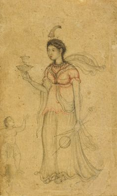 Allegorical Figure   ca. 1600   Nar Singh , (Indian, Painted between late 1580s and 1604)   Mughal dynasty Reign of Akbar   Opaque watercolor, ink and gold on paper   H: 8.8 W: 5.6 cm   India   Gift of Ruth and Sherman Lee    F1995.13