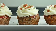 """meatball cupcakes with mashed potato """"icing"""""""