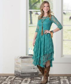 Dusty Turquoise Fields Lace Dress- Look your best in the Dusty Turquoise Fields Lace Dress