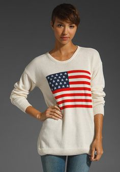 ShopStyle: Brandy Melville Betsy American Flag Sweater