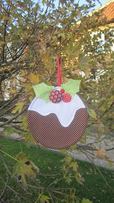 Hanging Christmas Pudding Decorations by FridaysChildGifts on Etsy, £6.50