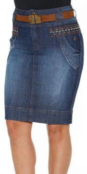 Saia Detalhe Chapado Jeans Via Tolentino