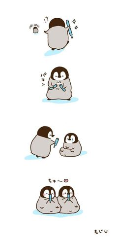 Hehehe dis so cuuute Cute Animal Drawings, Kawaii Drawings, Cute Drawings, Penguin Art, Penguin Love, Cute Disney Wallpaper, Cartoon Wallpaper, Penguin Pictures, Cute Pictures