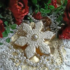 Lustrous golden snowflakes by Teri Pringle Wood