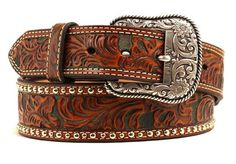 Ariat Western Mens Belt Leather Tooled Studs Tan Dark Brown A1017808 #Ariat